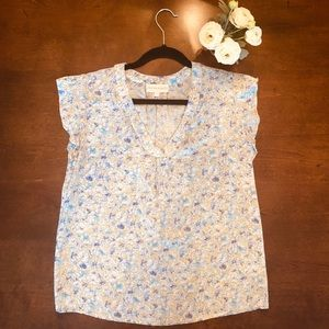 EUC Cynthia Rowley Flutter Sleeve Flower Blouse